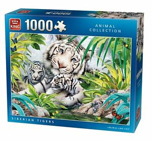 1000-Piece-Animal-world-Jigsaw-Puzzle-SIBERIAN-WHITE-TIGERS-CUBS-05486