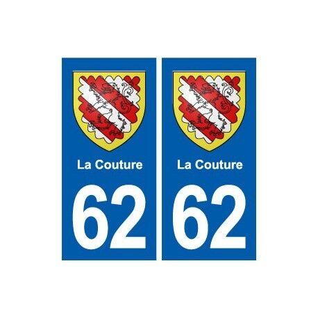 62 La Couture blason autocollant plaque stickers ville -  Angles : droits