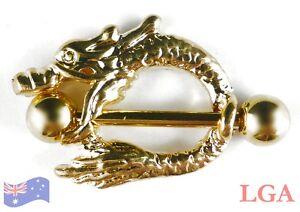 1-x-Gold-Pl-Dragon-Nipple-Bar-Shield-Body-Piercing-Jewellery-Male-14g-8mm-hole-C