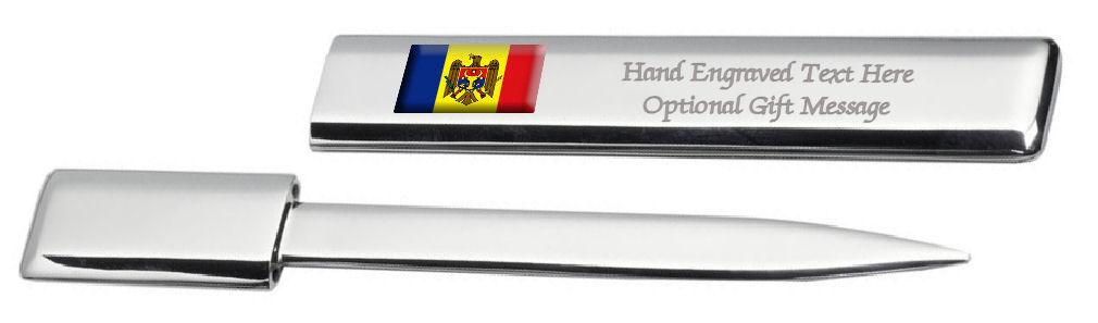 Moldavie Drapeau Engraved Post Lettre Bottle Opener Étui