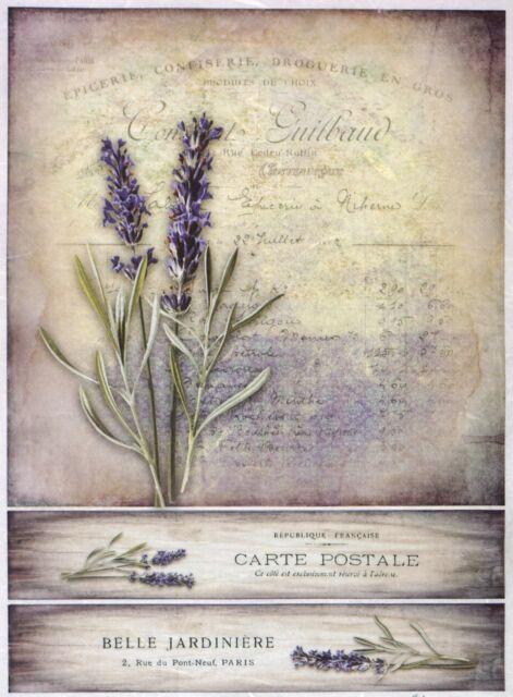 Rice Paper Lavender Card for Decoupage Decopatch Scrapbook Craft