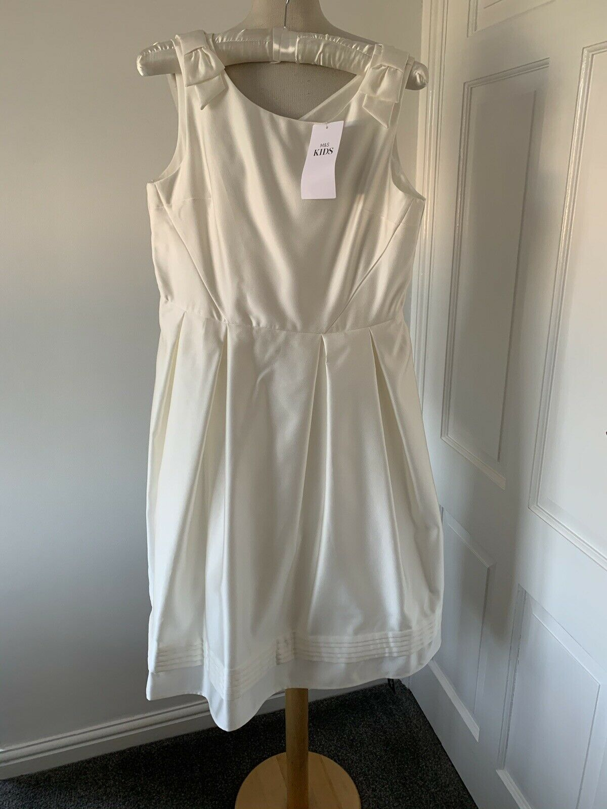 M&S Kids Ivory Special Occasion Dress Age 8-9 Yrs (134 Cms) Rrp Bnwt
