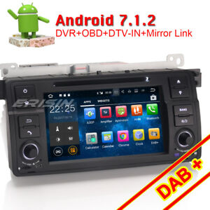 Android 7.1 Car Stereo GPS DAB+ DVR DTV-IN Sat Nav For BMW E46 M3 ...
