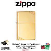 Zippo Vintage Series 1937 Lighter, W/ Slashes, Hi Polish Brass, Windproof 270