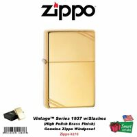 Zippo Vintage Series 1937 Lighter, W/ Slashes, Hi Polish Brass, Windproof 270