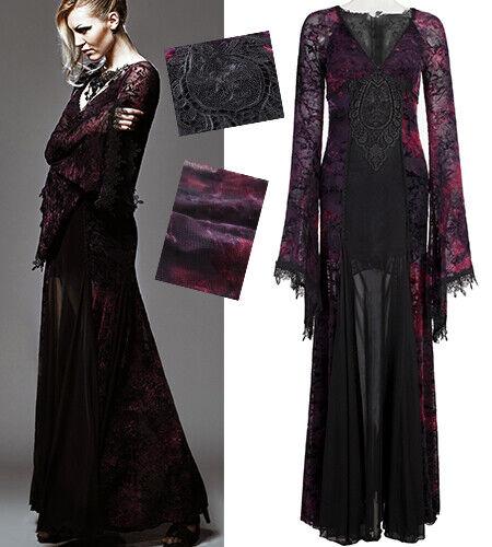 Lang Party Spitze Kleid Gothic Lolita Barock Glam Schlag Ärmel Lila PunkRave