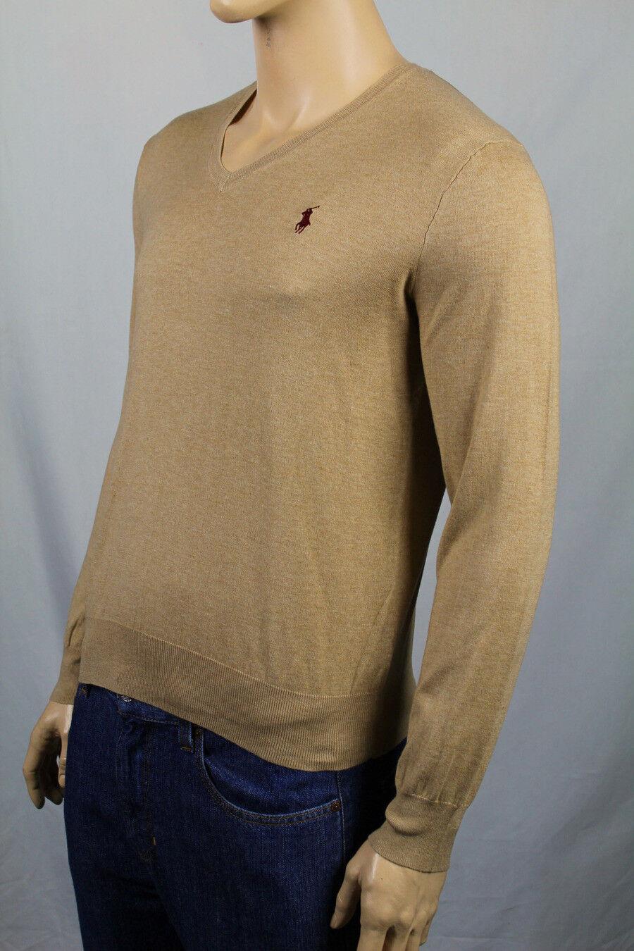 Polo Ralph Lauren Tan Pima Cotton Long Sleeve Sweater Burgundy Pony NWT