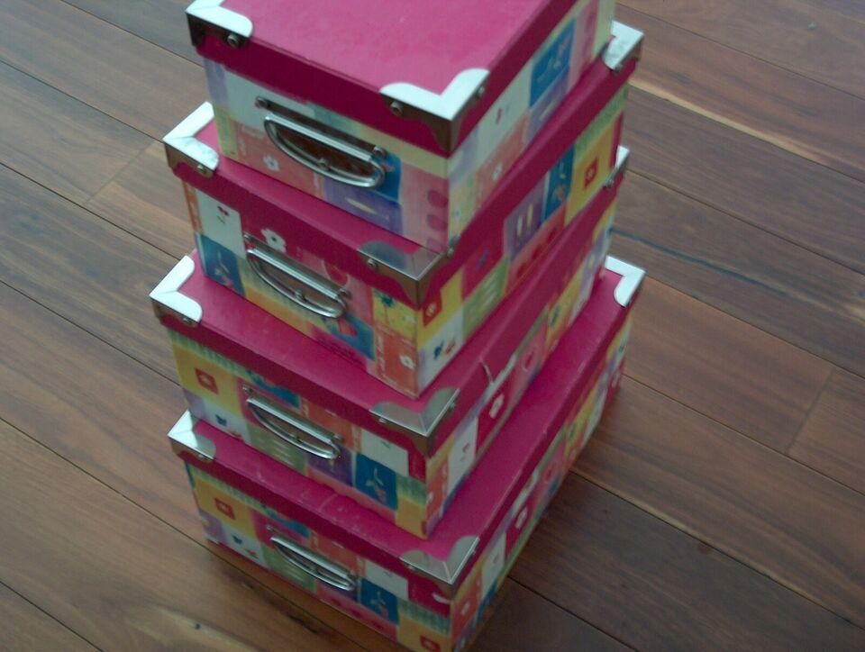 Andet legetøj, opbevaringskasser i flot pink farver, 4 stk