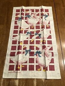 Vintage Gordon Fraser Gallery LTD Linen Tea Dish towel. White Geese Rose & Blue | eBay