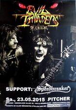 EVIL INVADERS - 2015 - Konzertplakat - Speedbreaker - Tourposter - Düsseldorf