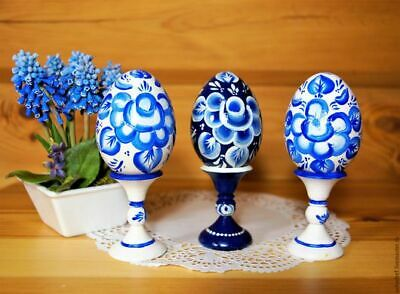 """Souvenir wooden Easter egg /""""Gzhel/"""" handmade price for 1 piece Russia"""