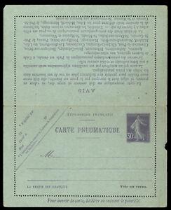 fr058-France-30c-Sower-violet-Carte-Pneumatique-letter-sheet-unused