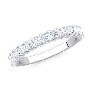Natural-0-80ct-Asscher-Cut-Diamond-U-Prong-Half-Eternity-Band-Anniversary-Ring
