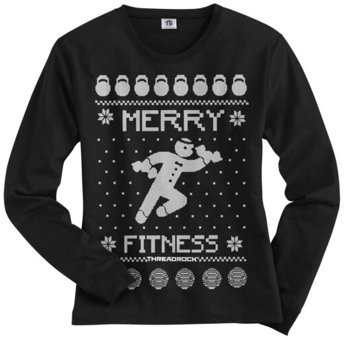 Threadrock Women/'s Merry Fitness Long Sleeve T-shirt Ugly Holiday Sweater