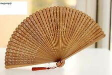 High Quality Rare Chinese Japanese Folding Bamboo Pocket Flower Hand Fan Brown