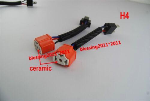 "H4 HI HEAT HEADLAMP LIGHT BULB 7/"" HEADLIGHT CERAMIC WIRING HARNESS SOCKET PLUGS"