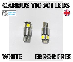 2x Canbus Sans Erreur T10 501 Blanc DEL SideLight Ampoules Mercedes VW AUDI BMW SEAT
