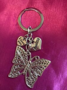 Auntie-Heart-With-Butterfly-Keyring-Bag-Charm-with-Organza-Gift-Bag-FREEPOST
