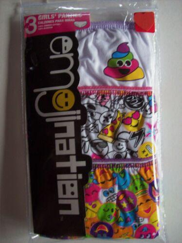 Emojination Underwear Underpants Girls 3 Pair Panty Pk Sz 4 6 8 Smiley Face NIP