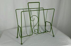 Vtg-Retro-Metal-Magazine-Paper-Rack-Storage-Mid-Century-Modern-Furniture-Decor