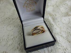 NEW 9ct Yellow Rose White Gold Russian Wedding Band Ring59