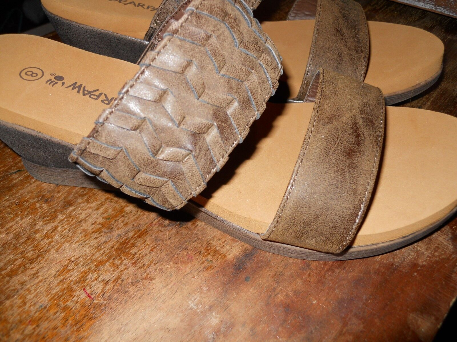 Bearpaw Women's Wedge Misty dark brown Slip-On Wedge Women's Sandal SIZE 8 3cbd58