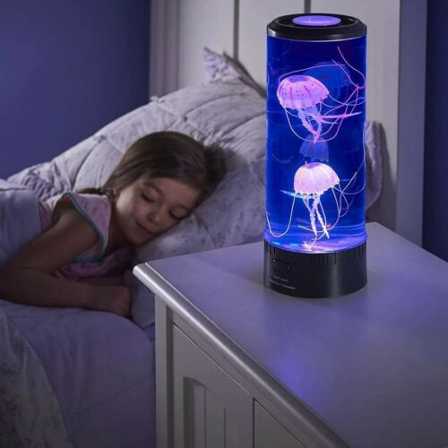 LED Jellyfish Mood Lamp Light Realistic Color Changing Water Aquarium with fish