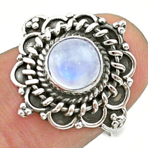 925 Silver 2.53cts Solitaire Natural Rainbow Moonstone Round Ring Size 7 T41396