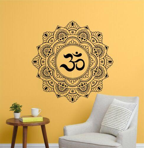 Mandala Vinyl Wall Decal OM Symbol Wall Sticker Flower Life Cutout Bedroom Yoga