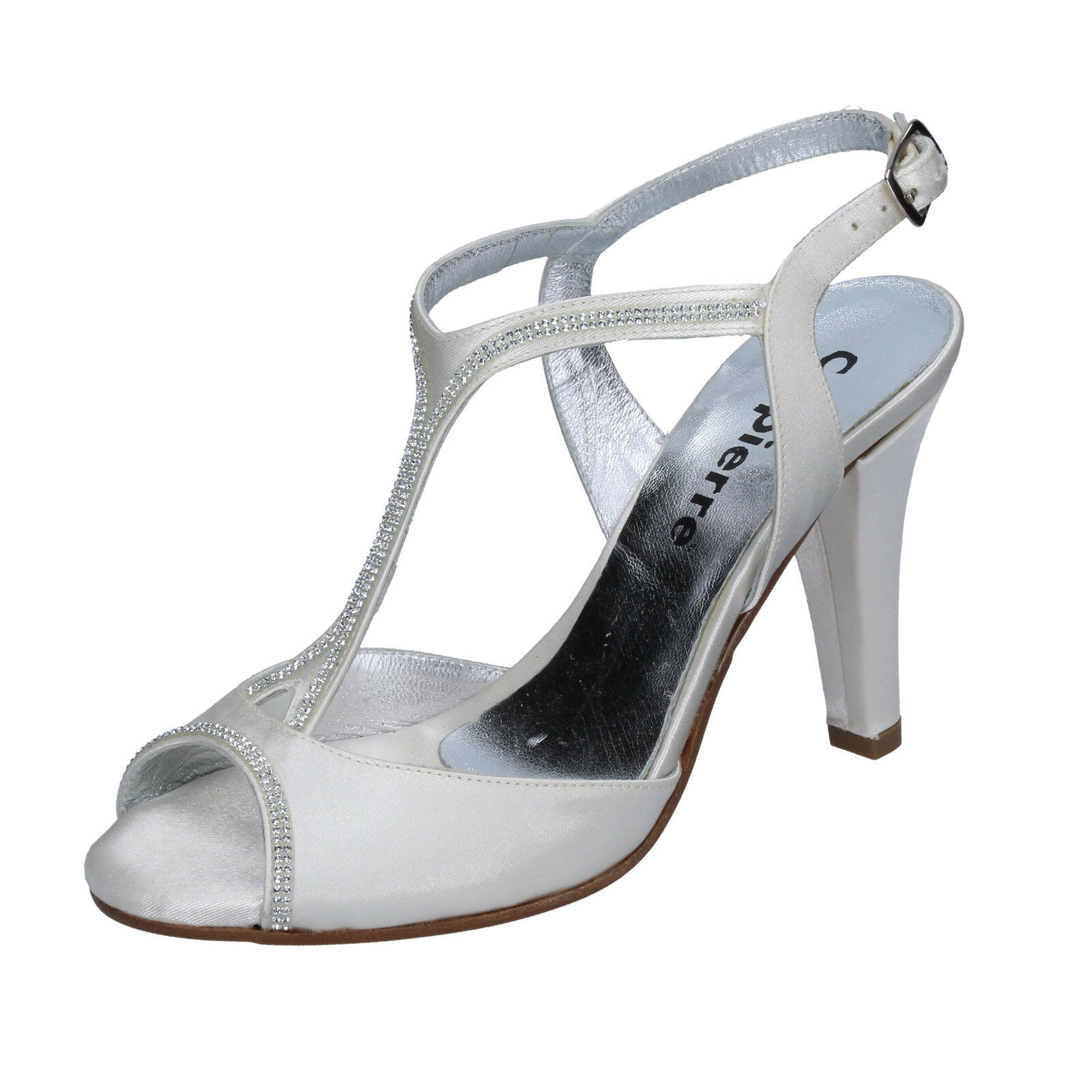 Womens shoes CALPIERRE 4 (EU 37) sandals white satin Swarovski BT672-37