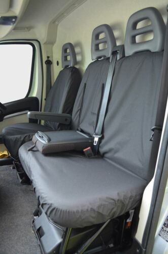 Tailored Black Driver Double Passenger Seat Covers for Citroen Relay 2006 on