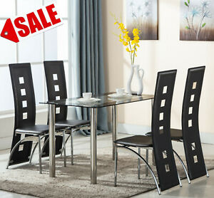 Modern Black Glass Dining Room Table And 4 Chairs Set For Kitchen Furniture Ebay