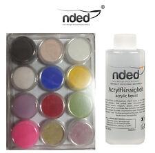 Pack 12x polvere acrilica + liquido 100 ml NDED Alta Qualità tips unghie