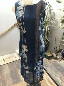 robe-femme-ensemble-debardeur-voile-polyester-bleu-imprime-fleurs-Taille-40