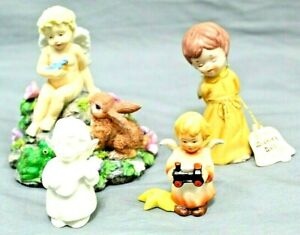 ANGEL-Home-Decor-amp-Collectibles-Lot-Of-4-Vintage-Figurine-Pieces-Under-5-034-Tall