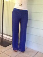 Copper Key Over Lace Palazzo Pants Fully Lined Royal Blue Stretchy Soft Medium