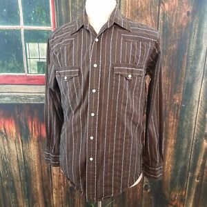 ce07d83d Lucky Brand Mens Brown Striped Snap Up Western Cowboy Shirt Medium ...