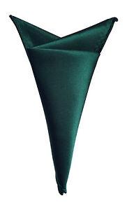 Satin élégant Pour Homme Couleur Unie Poche Carré Mouchoir Hanky Vert Foncé-afficher Le Titre D'origine
