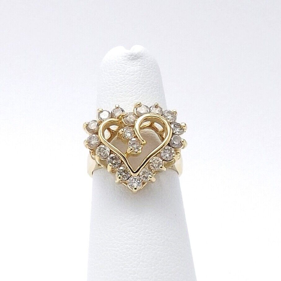 14k gold 1ctw Diamond Open Heart Ring Sz 5