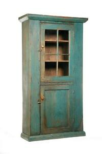 pine kitchen cabinets primitive one painted wall cupboard lot 1491 ebay 1491