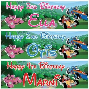 2-Personalised-Birthday-Banner-Mickey-Mouse-Roadster-racer-children-poster-deco