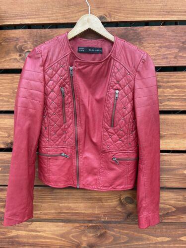 Zara 100% Red Leather Biker Jacket Medium