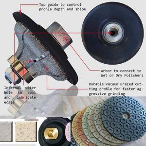 "3//4/"" Ogee bull nose Router Bit Grinding wheel 18 polishing Pad granite concrete"