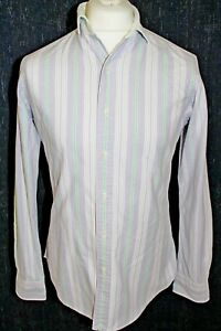 RALPH-LAUREN-Mens-Purple-White-Green-Strip-White-Collar-Shirt-Size-Small