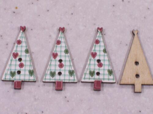 20 primitive shabby chic christmas tree /& coeurs en bois boutons libre p/&p