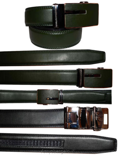 """Men/'s belt Leather Dress Belt Automatic lock Click Comfort New Buckle UP to 50/"""""""