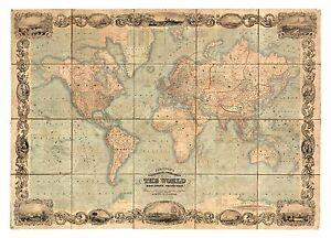 Alte Weltkarte Johnson Ca 1847 Papier Leinwand Ebay