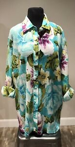 JONES-NEW-YORK-Bold-Floral-SIGNATURE-WOMAN-Button-Down-Blouse-Plus-Sz-3X