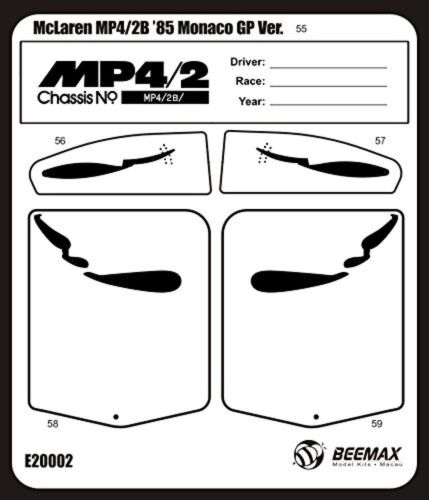 Detail Up Parts for BEEMAX 1//20 Aoshima No.09 McLaren MP4//2B\/'85 Monaco GP Ver