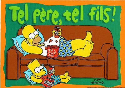 "CARTE POSTALE /"" THE SIMPSONS /"" 1998 BART HOMER LISA MARGE N°2 TEL PERE TEL FILS"